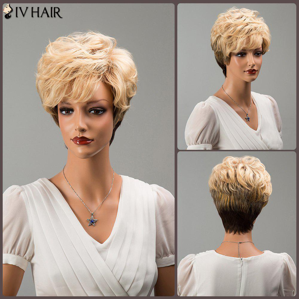 Siv Hair Mixed Color Short Side Bang Fluffy Wavy Human Hair Wig