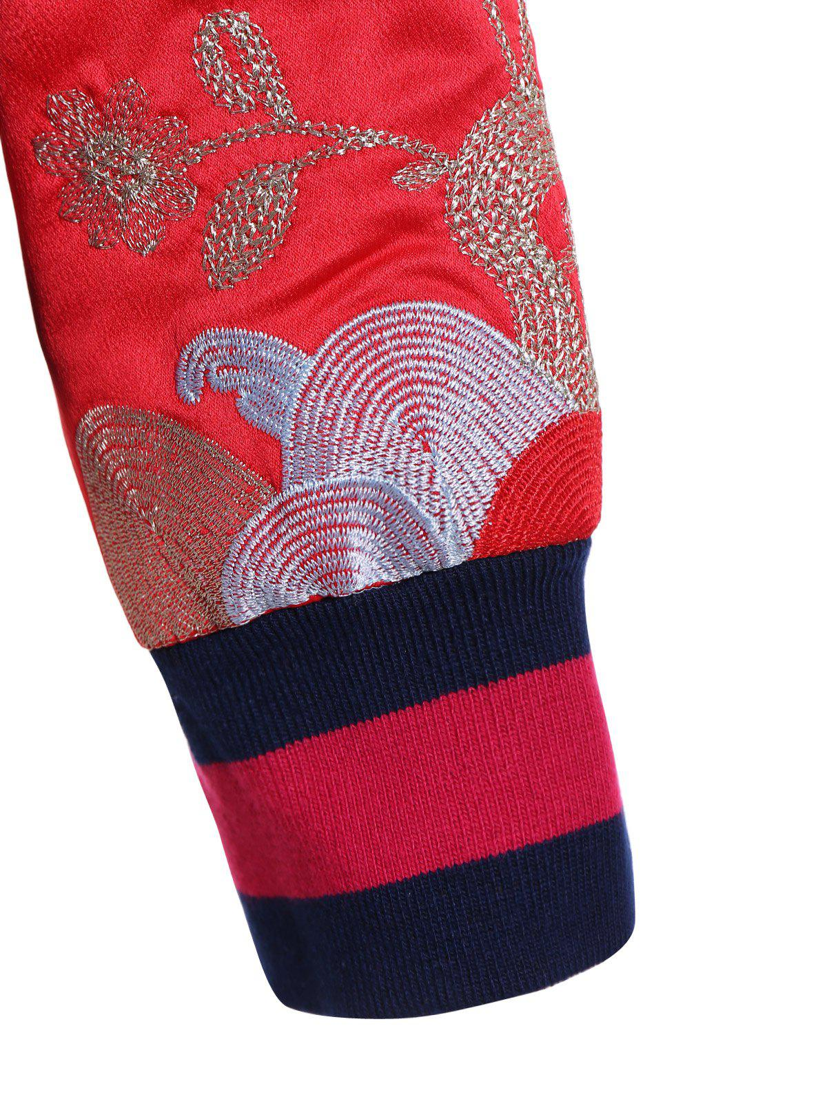 Raglan Sleeve Embroidery Bomber Jacket - BRIGHT RED ONE SIZE