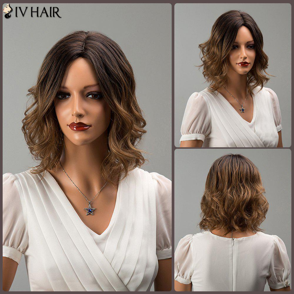 Siv Hair Mixed Color Short Middle Part Wavy Human Hair WigHair<br><br><br>Color: COLORMIX