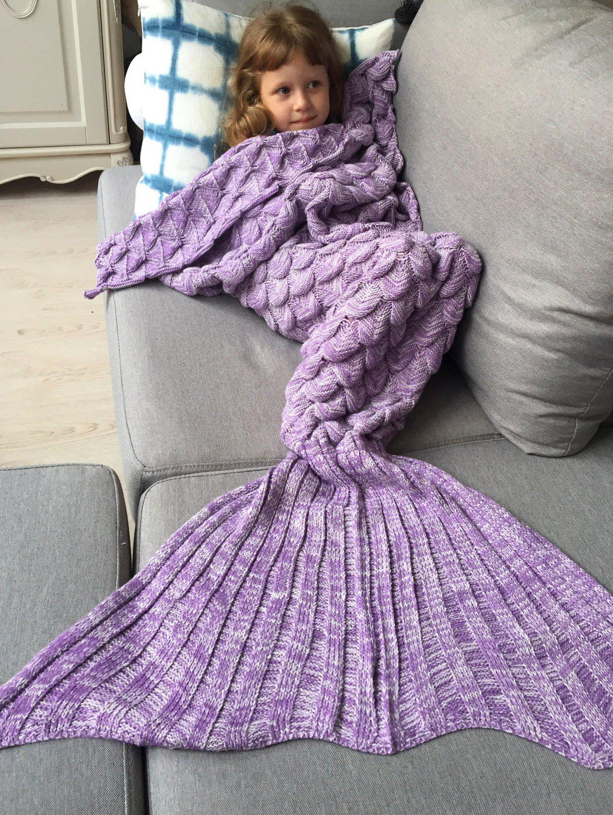Kids Sleeping Bag Fish Scales Design Knitted Mermaid Blanket thicken soft knitted sleeping bag kids wrap mermaid blanket
