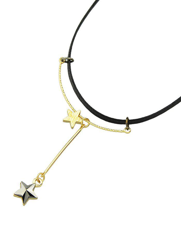 PU Leather Rope Rhinestone Pentagram Necklace, Black