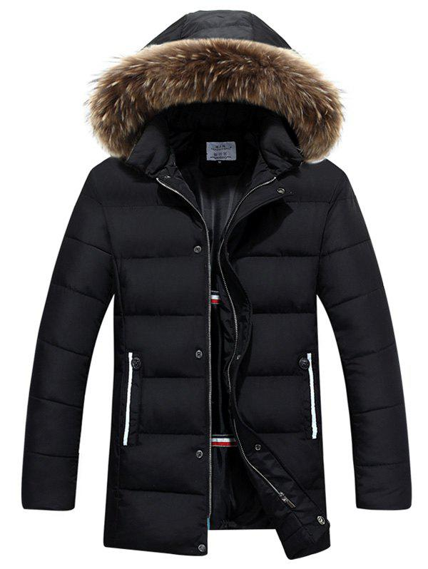 Buy Thicken Faux Fur Collar Hooded Zip Quilted Coat BLACK