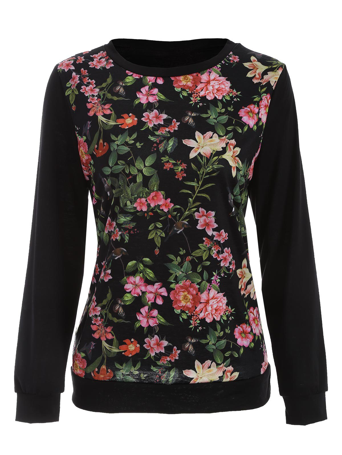 Floral Bird Print Long SLeeve T-Shirt