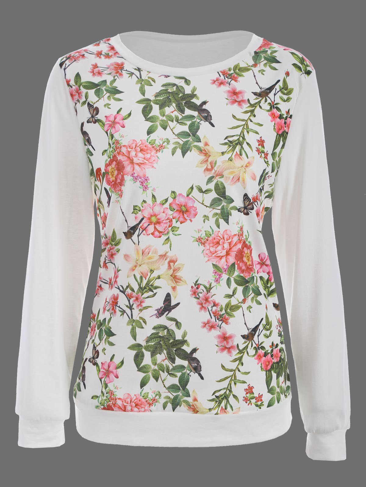 Floral Bird Print Long SLeeve T-Shirt plus size bird and floral print v neck long sleeve t shirt
