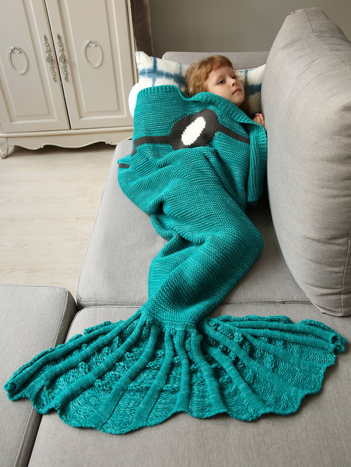 Handmade Knitted Bed Sofa Wrap Mermaid Blanket fuguimao electric blanket pure white manta electrica 150x70cm electric heating blanket for bed 220v heated blanket body warmer