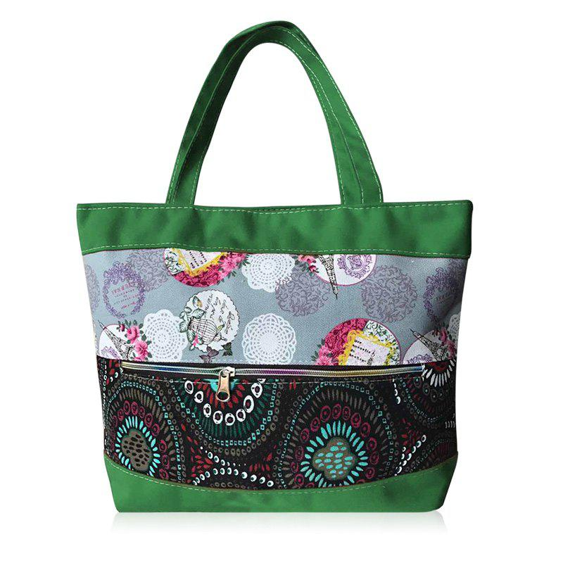 Colour Block Zipper Floral Print Shoulder Bag - GREEN