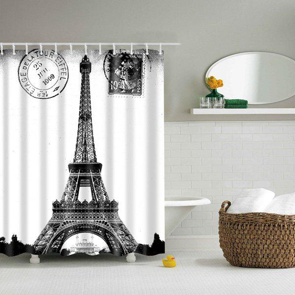 Paris Tower Bathroom Mildewproof Waterproof Shower Curtain - WHITE/BLACK L