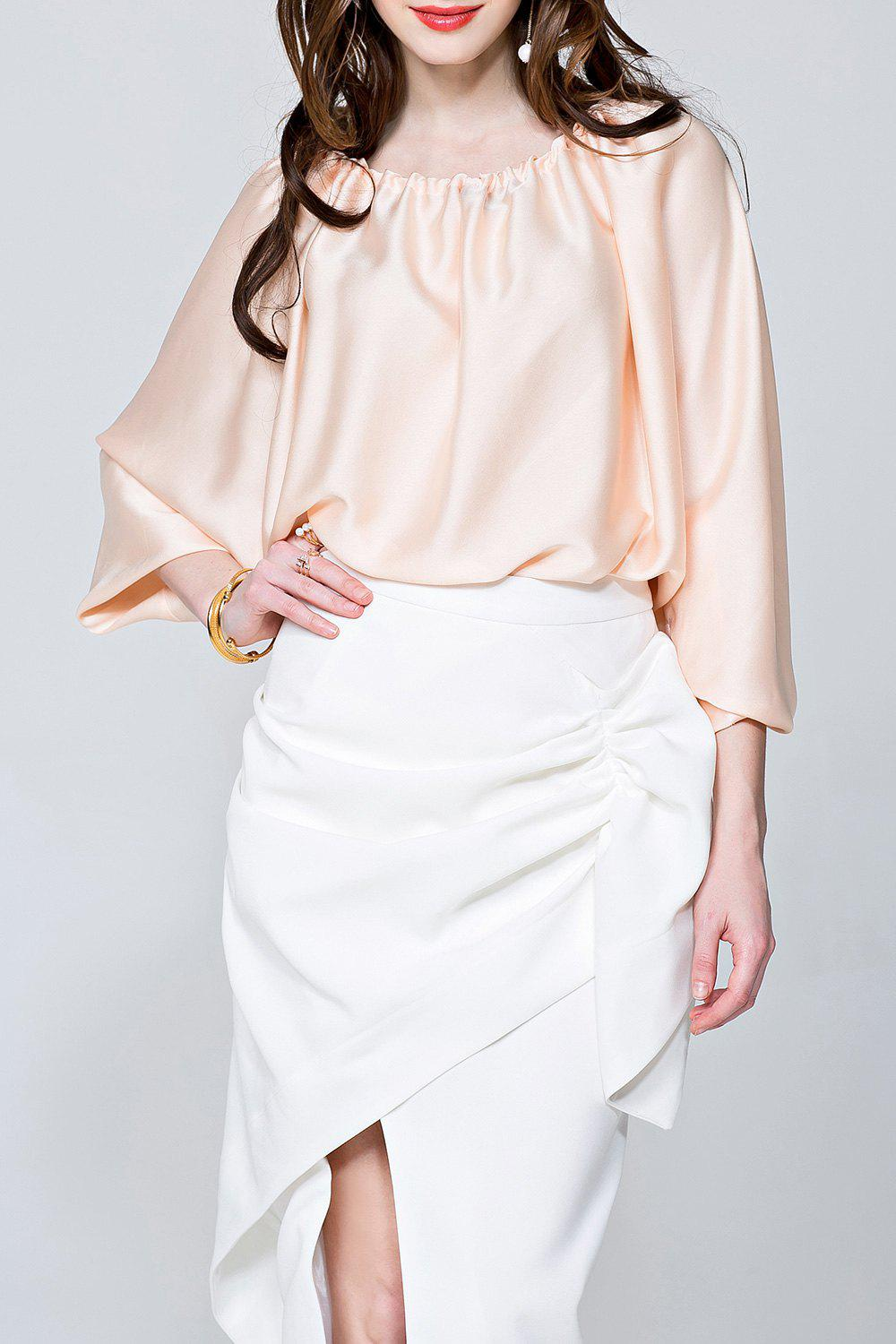 Convertible Slash Neck Satin Blouse tama hp300b