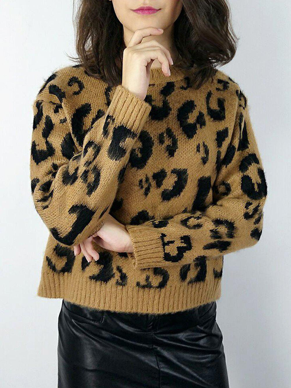 Pullover Leopard Knit Sweater - LEOPARD ONE SIZE