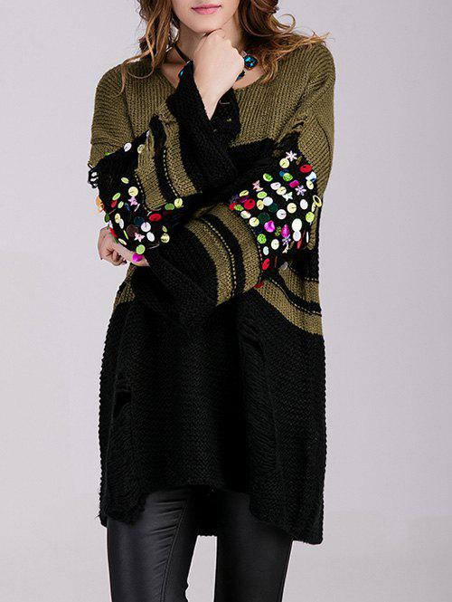 Long Color Block Embellished Sweater - BLACKISH GREEN ONE SIZE