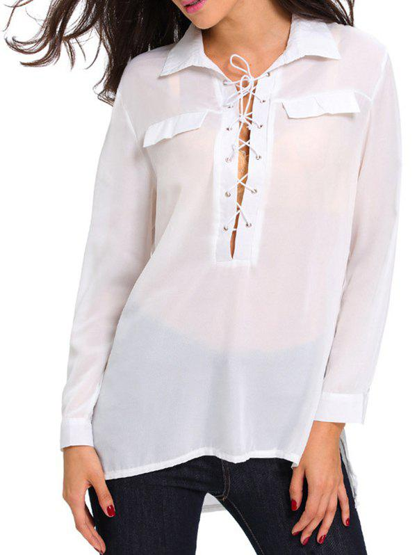 Long Sleeve Lace Up High Low Shirt - WHITE S