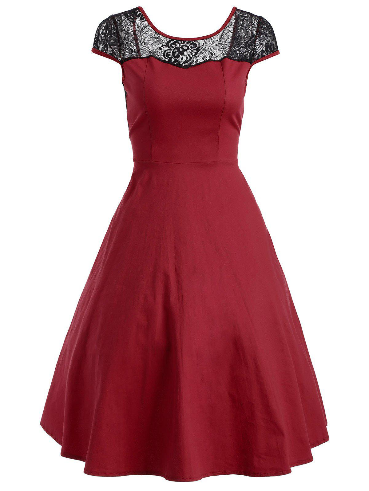 Floral Lace Panel Swing Dress - RED L