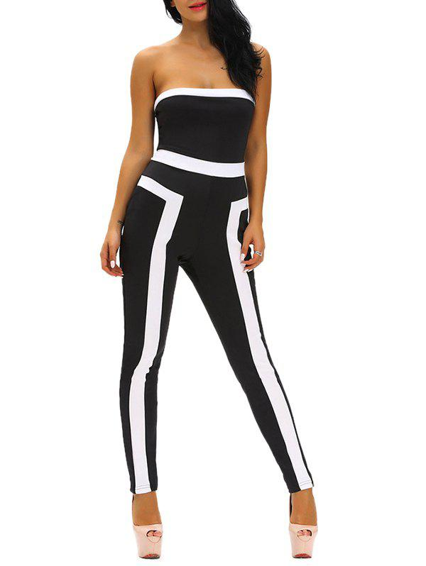 Tight Color Block Strapless JumpsuitWomen<br><br><br>Size: S<br>Color: BLACK