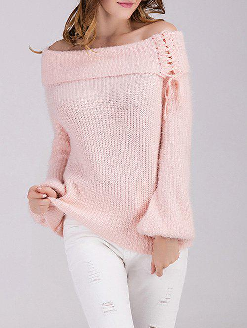 Off The Shoulder Puff Sleeve Sweater - PINK ONE SIZE