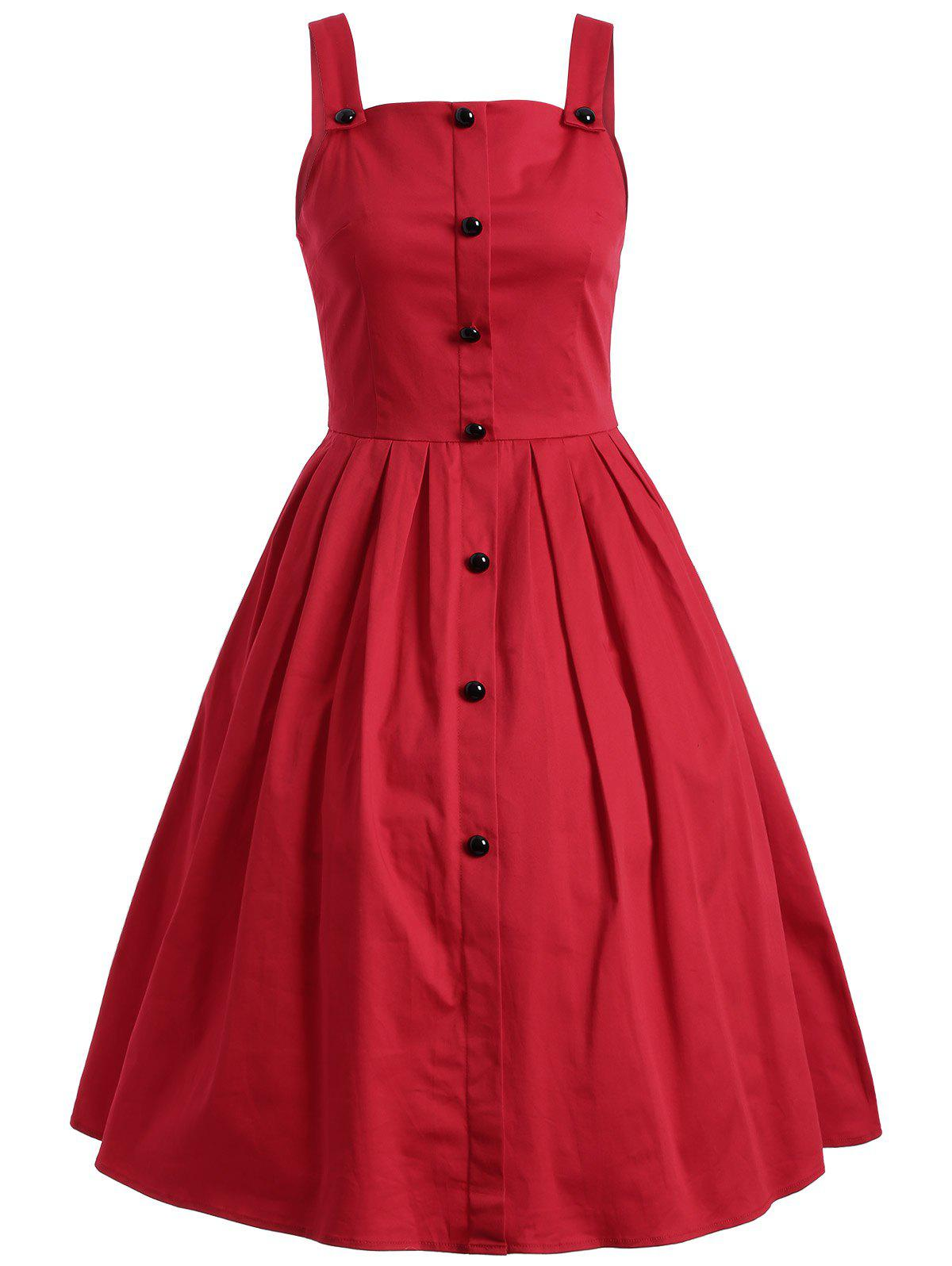 Vintage Sleeveless Buttoned Swing Dress - RED 2XL