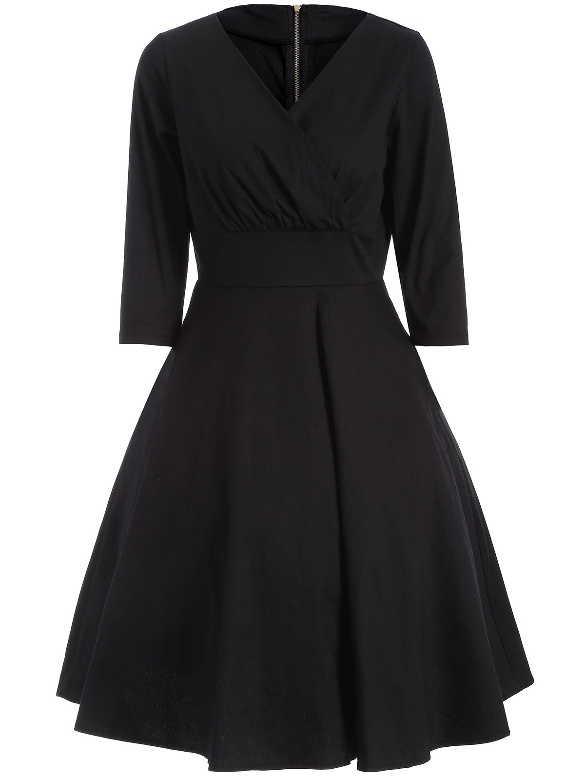 Ruched Surplice Flare Dress - BLACK M