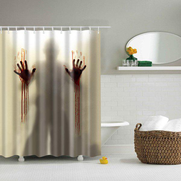 Scary Shadow Bathroom Mildewproof Waterproof Shower Curtain - BEIGE L
