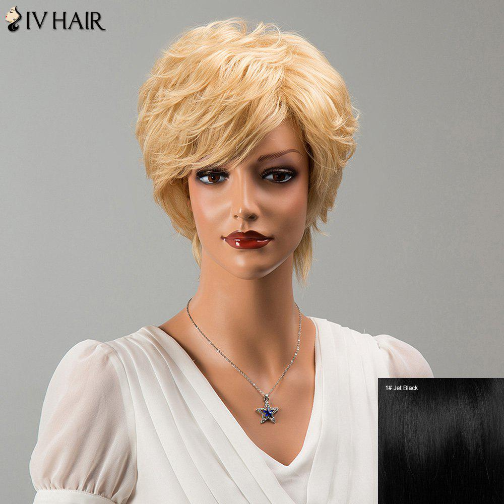 Siv Hair Fluffy Short Side Bang Slightly Curled Human Hair Wig - JET BLACK