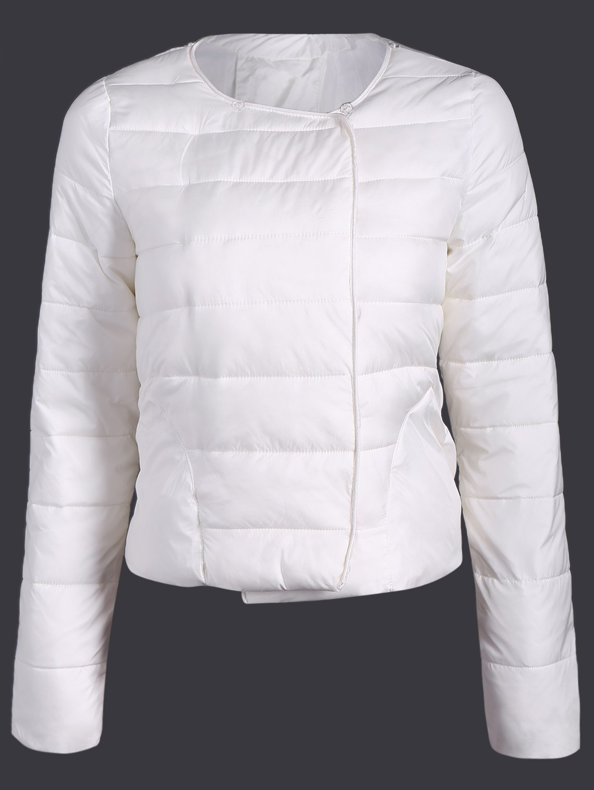 Double Pocket Short Slim Quilted Jacket - WHITE L