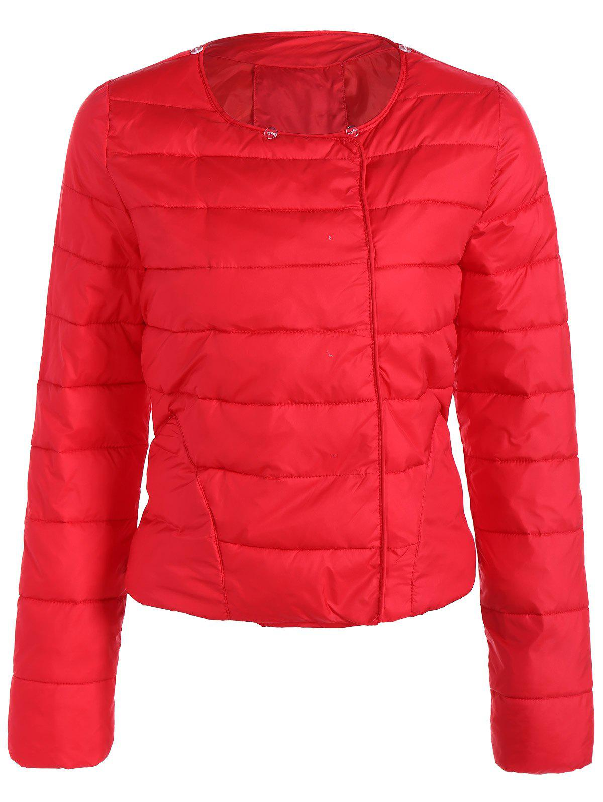 Double Pocket Short Padded JacketWomen<br><br><br>Size: M<br>Color: RED