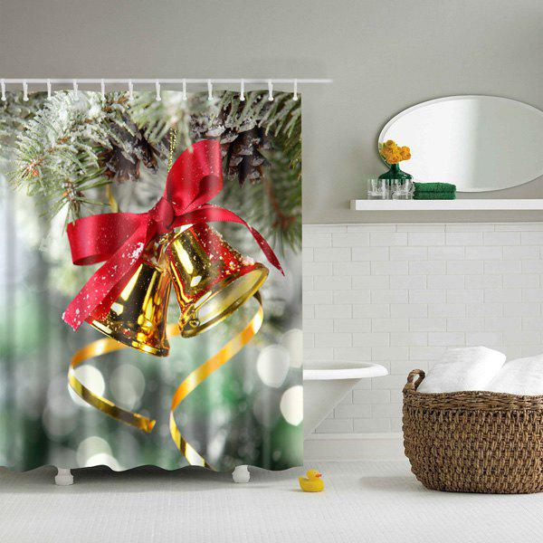 Bathroom Mildewproof Waterproof Christmas Bell Shower Curtain merry christmas waterproof shower curtain bathroom decoration