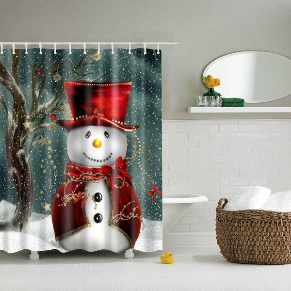 Christmas Snowman Bathroom Waterproof Shower Curtain - COLORMIX L