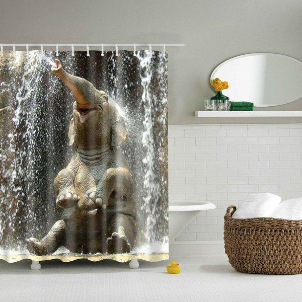 3d elephant pattern bathroom waterproof shower curtain colormix l