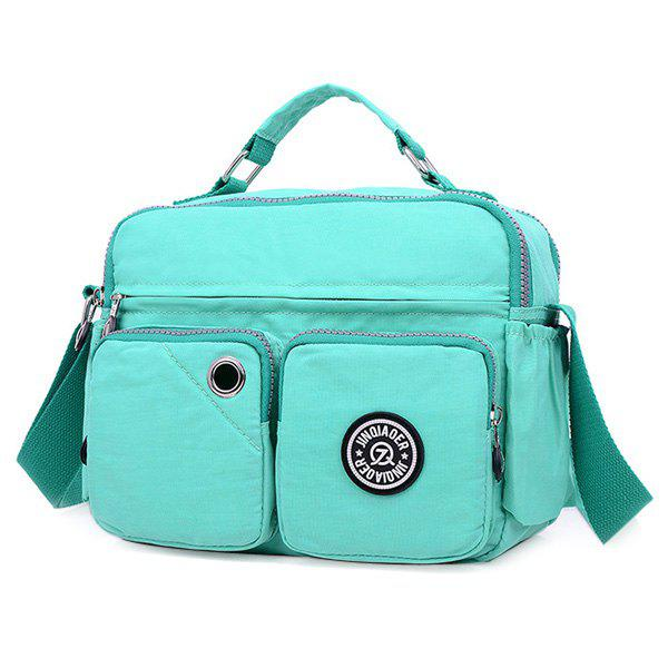 Nylon Multi Zip Pockets Diaper BagBags<br><br><br>Color: LIGHT GREEN