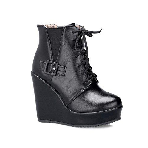 Buckle Elastic Band Tie Up Ankle Boots, BLACK, 3 in Boots ...
