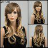 Siv Hair Long Side Bang Gorgeous Wavy Human Hair Wig - LIGHT BLONDE /