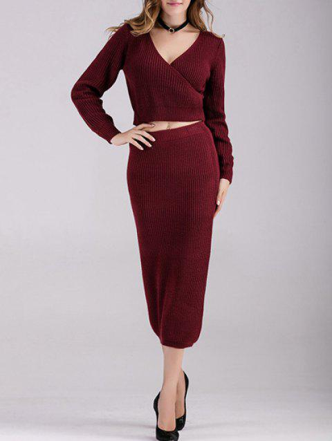 Manches longues Crop Top avec maille Jupe - Vin rouge ONE SIZE