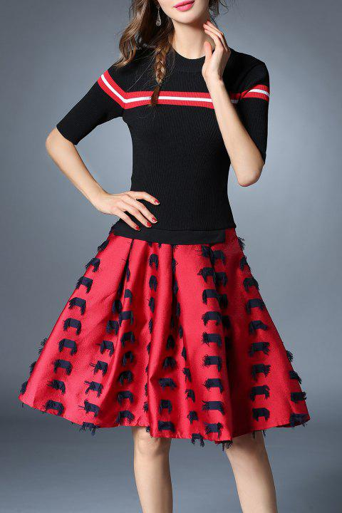 Half Sleeve Striped Patched Knitted Dress - RED/BLACK 2XL