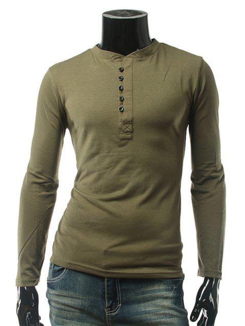 Plain Button Embellished Long Sleeve T-Shirt - ARMY GREEN M