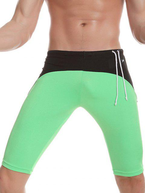 Side Drawstring Contrast Panel Swimming Trunks - GREEN L