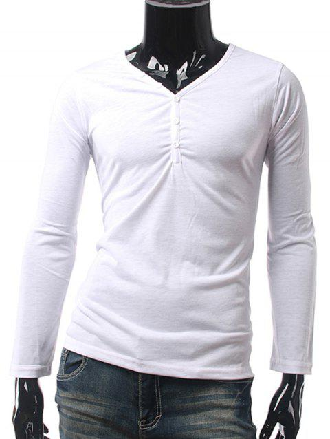 Slim Fit Button Up V Neck Long Sleeve Tee - WHITE M