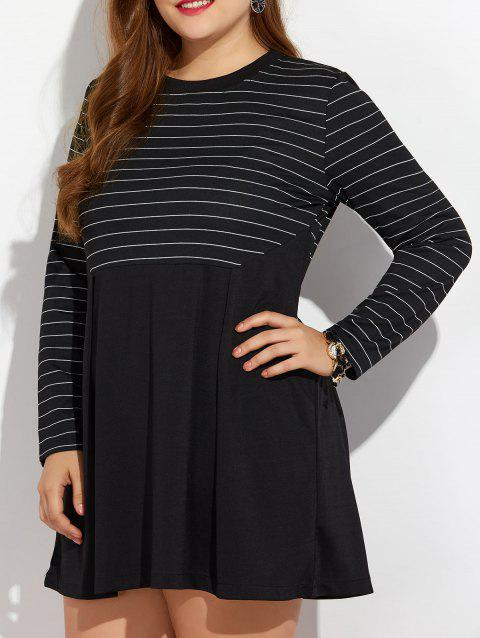 Robe manches longues rayée grande taille - Noir 2XL