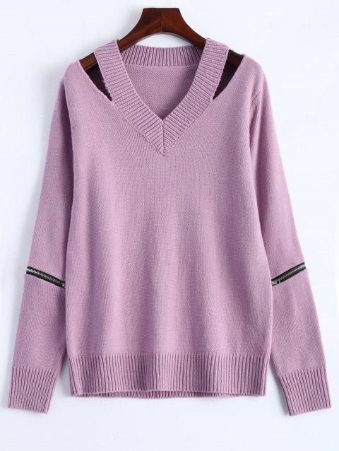 V Neck Zipper Sweater - PINK M