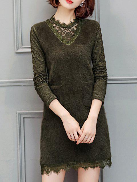 Long Sleeve Lace Insert Dress with Pockets - ARMY GREEN L
