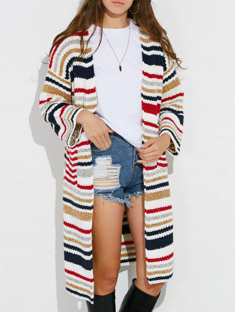 Colorful Striped Chunky Cardigan - Blanc ONE SIZE