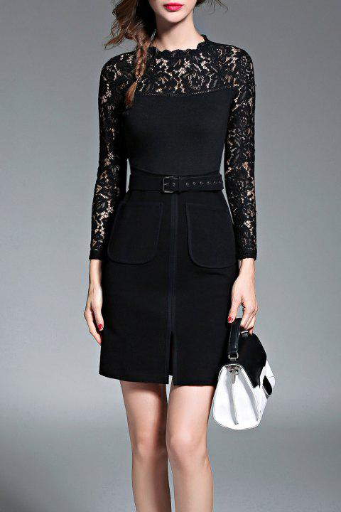 Lace Panel Mini Dress with Belt - BLACK S