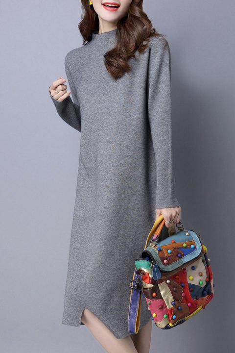 Mock Neck Shift Sweater Dress - GRAY M