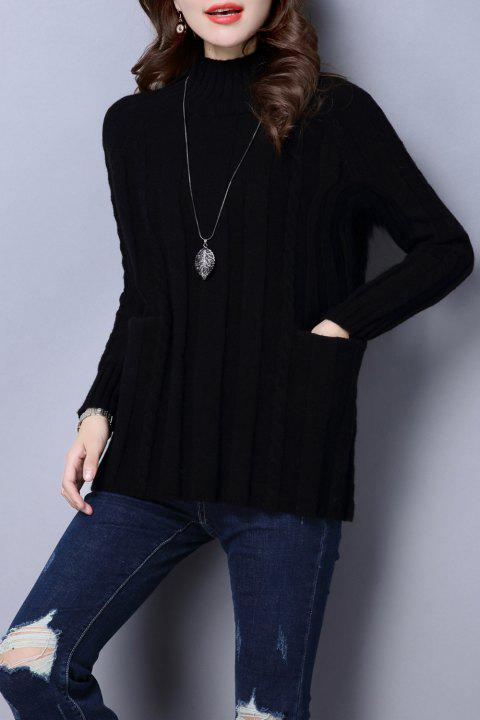 Cable Knit Mock Neck Sweater - BLACK ONE SIZE