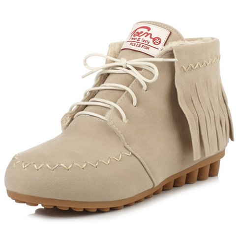Stitching Fringe Lace Up Ankle Boots - OFF WHITE 38