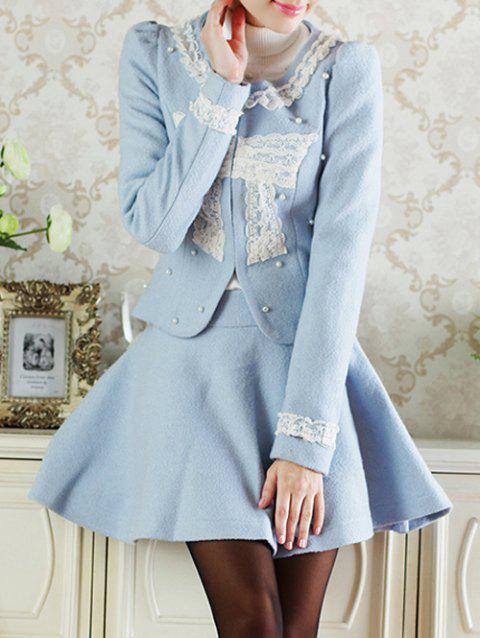 Lace Insert Short Wool Jacket With Flare Skirt - AZURE S