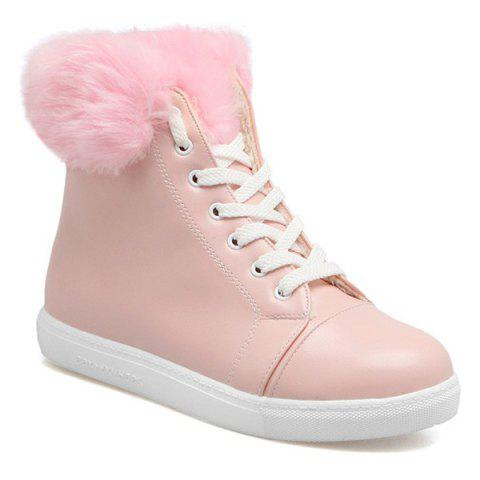 Lace Up Faux Fur Sneaker Boots - PINK 37