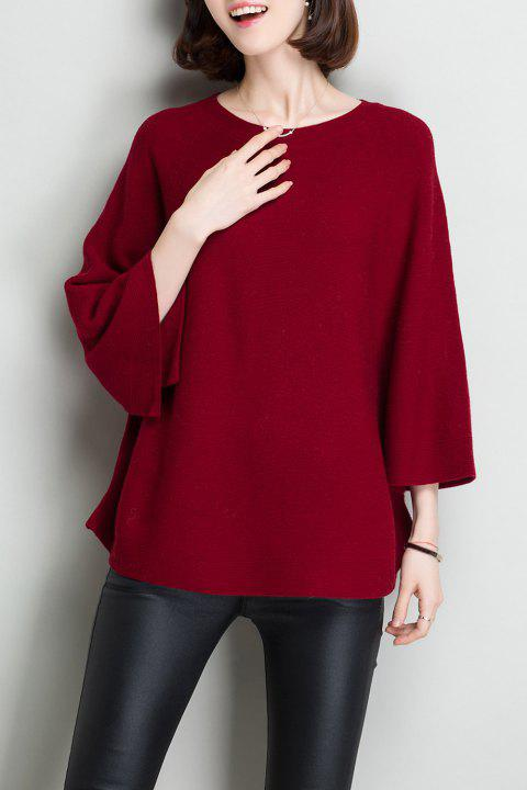 Flare Sleeve Wool Knit Sweater - BURGUNDY ONE SIZE