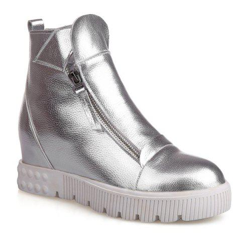Zip Increased Internal Ankle Boots - SILVER 38