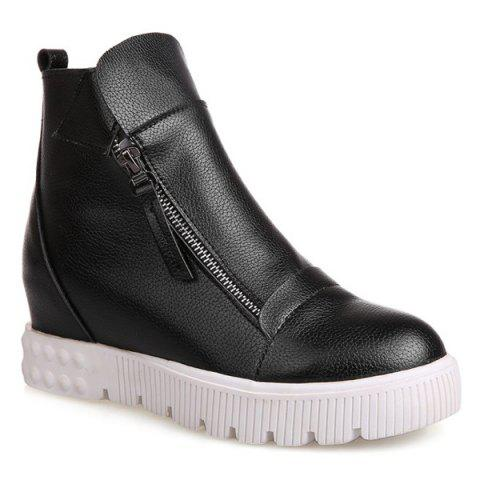 Zip Increased Internal Ankle Boots - BLACK 38