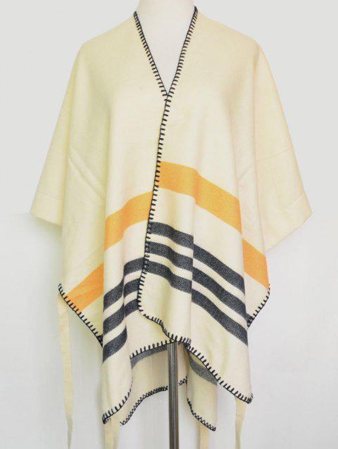 Open Front Striped Hemming Pashmina - BEIGE
