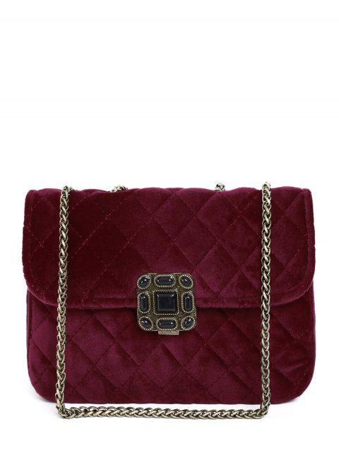 Chains Velour Quilted Bag - WINE RED